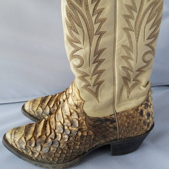 6136bb87e1c Justin Bootmakers Python Skin Leather Cowboy Boots
